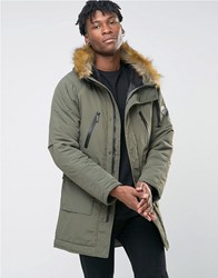 Nicce London Polar Parka With Faux Fur Hood Khaki Green