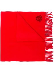 Moncler Logo Patch Scarf Red
