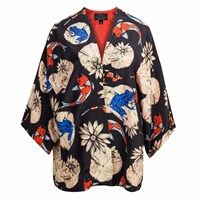 Louise Coleman Koi Silk Kimono Black Blue Yellow