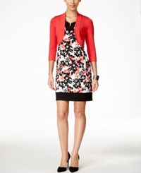 Jessica Howard Petite Bolero Shrug And Printed Shift Dress Medium Red