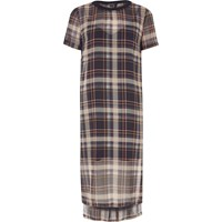River Island Womens Blue Check Mesh T Shirt Dress
