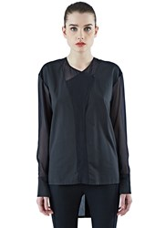 Ilaria Nistri Long Sheer Panel Shirt Black