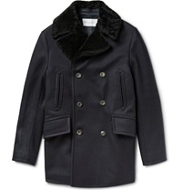 Private White V.C. Manchester Shearling Collar Wool Peacoat Blue