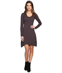 Mod O Doc Cotton Modal Spandex Jersey Crossover Hem Dress Dark Nickel Women's Dress Metallic