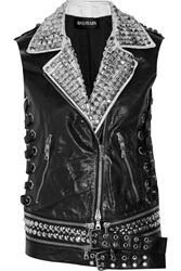 Balmain Embellished Leather Vest Black