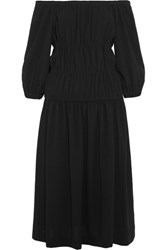 Sonia Rykiel Off The Shoulder Gathered Crepe Midi Dress Black
