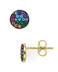 Aqua Multi Color Circle Stud Earrings 100 Exclusive Multi Gold