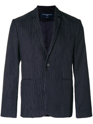 Natural Selection Laser Pinstriped Blazer Blue
