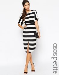 Asos Petite Exclusive Stripe Wiggle Dress With Split Front And Wrap Back