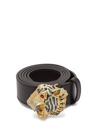 Gucci Tiger Embellished Leather Waist Belt Black