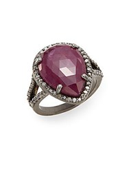 Bavna Diamond Ruby And Sterling Silver Halo Ring Silver Red