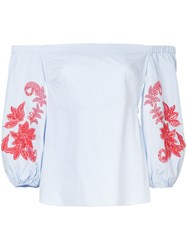 Tanya Taylor Embroidered Off The Shoulder Blouse Cotton Blue