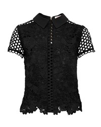 Ted Baker Beaux Lace Collared Cropped Top Black