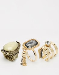 Oasis Statement Ring Pack Gold