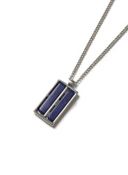 Topman Silver Look And Blue Rectangle Necklace