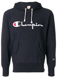 Champion Logo Embroidered Hoodie Blue