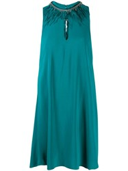 Twin Set Embellished Neck Dress Green