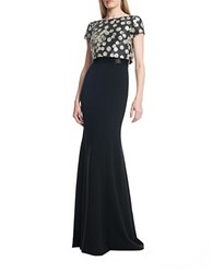 Theia Silk Popover Gown Black Taupe