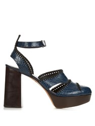 Robert Clergerie Holly Leather High Platform Sandals Navy