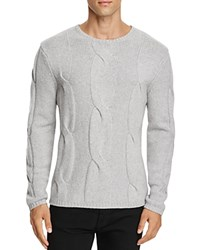 Zachary Prell Wool Cashmere Cable Knit Sweater Light Gray