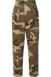 R 13 R13 Camouflage Print Cotton Twill Wide Leg Pants Army Green