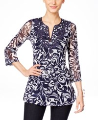 Inc International Concepts Embroidered Split Neck Tunic Only At Macy's Wisteria