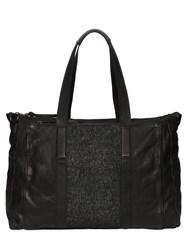 Allsaints Hoshi Leather And Tweed Duffle Bag