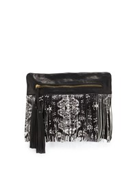 Cynthia Vincent Calida Printed Fringe Leather Clutch Bag Black