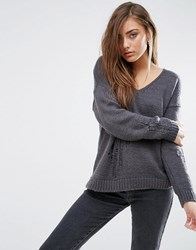 Asos Boxy Jumper With Ladder Detail And V Neck Grey