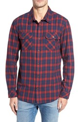 O'neill Men's Jack Oceanfront Regular Fit Double Pocket Check Shirt Red Brick