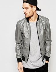 Replay Leather Bomber Jacket Zip Front Grey
