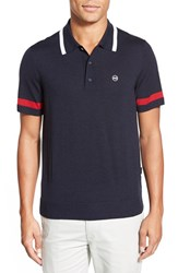 Ag Jeans Men's Ag 'Sunset' Trim Fit Stripe Tipped Merino Wool Polo Naval Blue