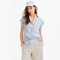 J.Crew Petite Short Sleeve Popover In Stripe