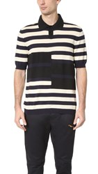 Marni Knit Stripe Polo Navy Off White Black