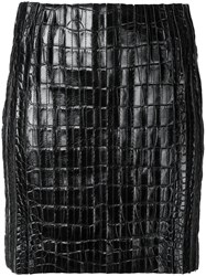 Thierry Mugler Crocodile Effect Mini Skirt Women Lamb Skin 38 Black