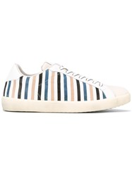 Leather Crown Moneside 13 Striped Sneakers White