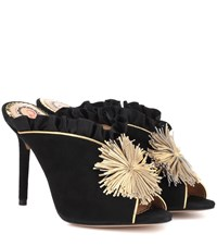 Charlotte Olympia Suede And Satin Mules Black