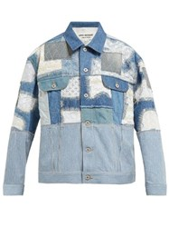 Junya Watanabe Patchwork Denim And Lace Jacket Blue Multi