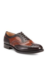 Church's Duo Color Burwood Wingtip Leather Oxfords Burnt Sand