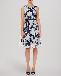 Phase Eight Dress Norma Floral Burnout Navy And White