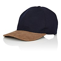 Luciano Barbera Men's Suede Bill Wool Cashmere Twill Baseball Cap Navy