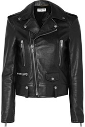 Saint Laurent Printed Leather Biker Jacket Black