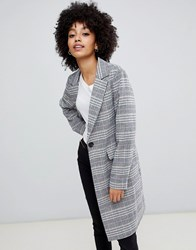 New Look Tailored Coat In Mixed Check Multi