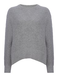 Samsoe And Samsoe Round Neck Textured Jumper With Long Sleeve Grey