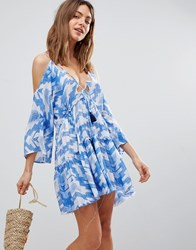 Surf Gypsy Aztec Cut Out Beach Dress Blue White Multi