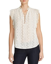 Rebecca Taylor Embroidered Flutter Sleeve Blouse Chalk