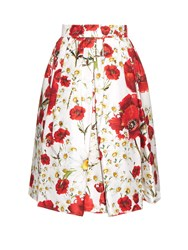 Dolce And Gabbana Daisy And Poppy Print Pleated Skirt
