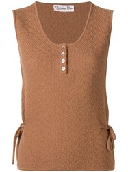 Christian Dior Vintage 1970'S Knitted Top Brown