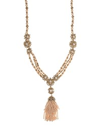 Marchesa Tassel Pendant Necklace 34 Pink Gold