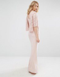 Mango High Neck Lace Top Maxi Dress Pink